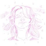 Girl teenager listening to music on headphones Royalty Free Stock Image