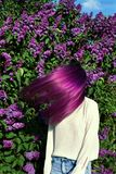 Girl teenager with purple hair Stock Images