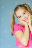 Girl-teenager in red dress Stock Photos