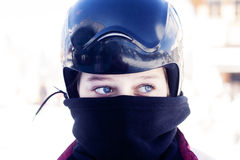 Girl teenager ski helmet snowboarder Stock Photo