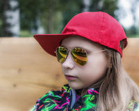 Girl teenager in sunglasses. Royalty Free Stock Images