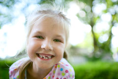 Girl with teeth dropped out royalty free stock photo