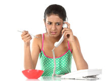 Girl with telephone Stock Photography