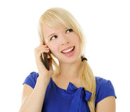 Girl with telephone Stock Photo