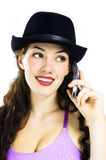 Girl with telephone Royalty Free Stock Photography