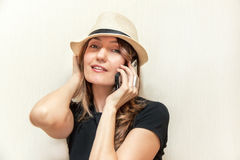 The girl with telephone. Royalty Free Stock Images