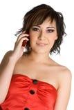 Girl on Telephone Stock Photo