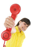 Girl with telephone Stock Images