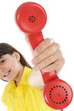 Girl with telephone Royalty Free Stock Images