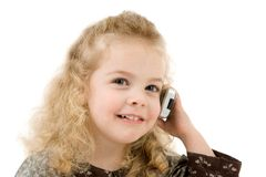 Girl with a telephone Royalty Free Stock Images