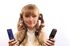 Girl with telephone Stock Photos