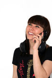 The Girl with telephone. The Girl with telephone and earphone Stock Images