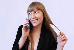 The girl with the telephone Royalty Free Stock Photography