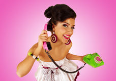 Girl with telephone. Stock Image
