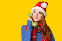 Girl with telephone Royalty Free Stock Photo