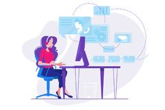 Girl telephone consultant in workplace. Online consultation. Vector illustration vector illustration