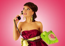 Girl with telephone. Stock Photos