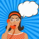 Girl with telephone handset on comic book background Royalty Free Stock Photography