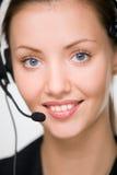 Girl - telephone operator Stock Photos