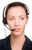 Girl - telephone operator Stock Photography