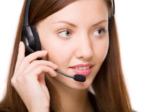 Girl - telephone operator Royalty Free Stock Photo