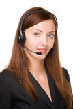 Girl - telephone operator Stock Images