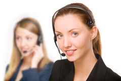 Girl - telephone operator Stock Photo