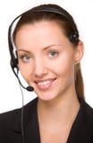 Girl - telephone operator Stock Photo
