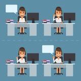 Girl telephone operator call center Stock Photo