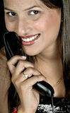 Girl with telephone receiver Stock Photos