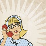 Girl with telephone in retro style. Vector illustration Stock Photo