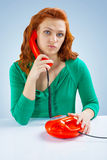 A girl with telephone Stock Photo
