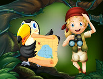 A girl with a telescope and a bird with a map Stock Images