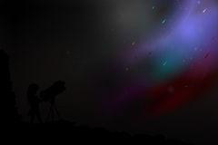 The girl, the telescope and the deep sky. Stock Images