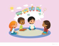 Girl telling fairy tale to other children sitting on round carpet against cartoon train with colorful cars inside speech. Bubble on background. Kids listening Royalty Free Stock Photography
