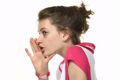 Girl telling gossip emotion Stock Photo