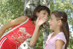 Girl Telling A Joke. Girl whispering a secret joke to sisters ear and she making a funny face Stock Photography