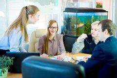 Girl tells something to his companions. Business team discussing at a table in an office, new business ideas. Two young men and two girls with glasses. Girl Stock Photography
