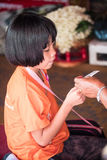 Girl at Temple in Thailand stock image