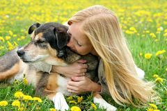 Girl Tenderly Hugging German Shepherd Dog Stock Photos