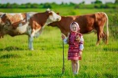 Girl tending cows Stock Photo