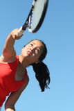 Girl tennis. Girl playing tennis royalty free stock photo