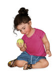 Girl with tennis ball Stock Image