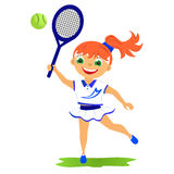 Girl tennis player. Childrens sport in summertime. Girl tennis player Stock Photos