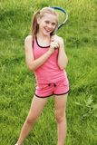 Girl with tennis racket Royalty Free Stock Photos