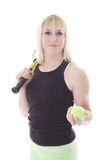 Girl with tennis racket and ball Stock Photography