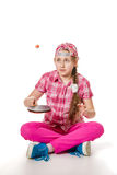 A girl with a tennis racket Stock Photography