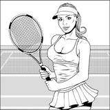 Girl with tennis racket. Vector illustration, pop art beautiful girl plays in big tennis, on a retro background Royalty Free Stock Images