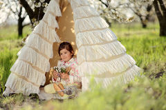 Girl in a tent Royalty Free Stock Photography