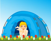 Girl in tent Stock Image